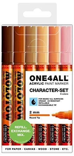 Molotow One4All 127HS Acryl Marker (Character-Set, 2 mm Spitze, hochdeckend und permanent, UV-beständig, für fast alle Untergründe) 6 Stück sortiert