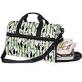 QMIN - Bolsa de viaje con diseño de panda de bambú, tamaño grande, ligera, con cremallera y correa, para mujeres, hombres, niñas y niños