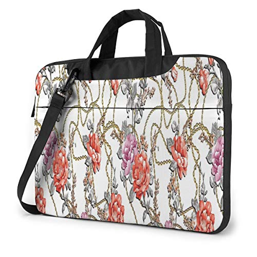Flowers Peony Rose Leaf Chain Gold Eegance Pattern 15.6' Laptop Case Sleeve Briefcase Computer Shoulder Bag W/Strap