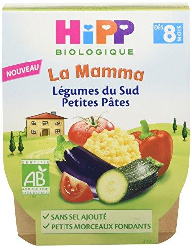 Hipp Biologique Légumes du Sud Petites Pâtes la Mamma Dès 8 Mois 4 packs de 2 Bols de 190 g