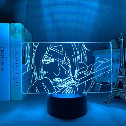 Attack On Titan Hange Zoe Lámpara de noche de ilusión 3D 13 años Regalos para niñas Juguetes para niños, 7 años de edad, regalo niño edad 7 6 5 4 3
