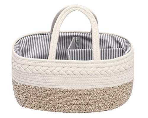 Baby Nappy Caddy Organiser with 3-Compartments, Cotton Rope Woven Multifunctional Nappy Diaper Caddy Storage Nursery Bin Basket, Portable Nappy Bags,GrayCoffee
