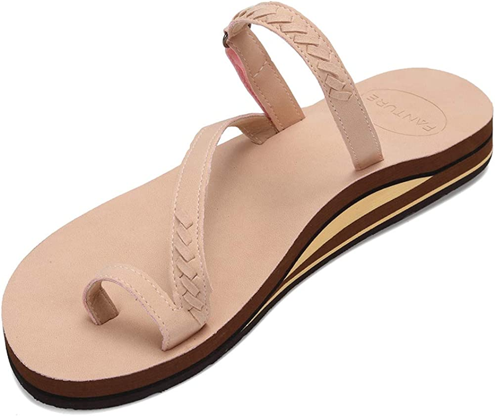 FANTURE Womens Sandals Arch Support Flip Strap Max 65% OFF Wide C Flops cheap with