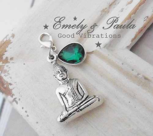Anhänger Buddha Indien Ethno esotherisch Meditation KristallTropfen smaragd Charm