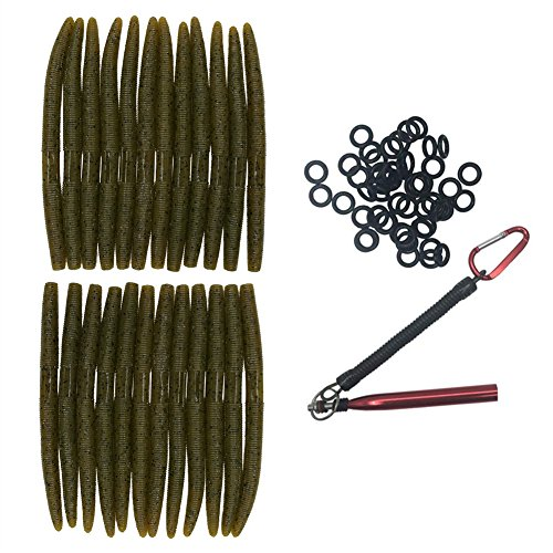 nawaish Senko Bait Soft Plastic Lures 5' Senkos 24 Pcs for Wacky Rig Freshwater Fishing Green Pumpkin senko with Black Flake