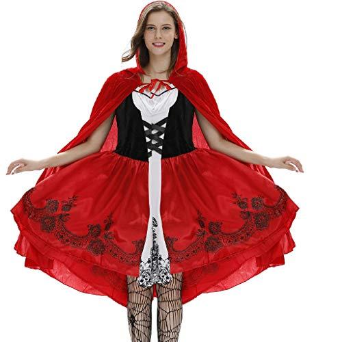 Cardith Damen Halloween Kostüm Rotkäppchen Kostüm mit Umhang Erwachsene Kleider für Halloween Fest Rollenspiel Kostüm Sexy Cosplay Kleid Karneval Verkleidung Party Nachtclub Kostüm