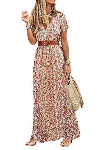 Onsoyours Mujeres Elegante Cuello En V Estampado Floral Maxi Vestido Boho Casual Manga Corta Vestido Larga Vintage Vestido De Playa Fiesta