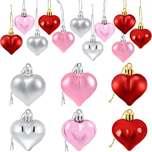 24Pcs Valentine's Day Heart Shaped Ornaments | Valentines Heart Decorations | Red Pink Silver Heart Shaped Baubles | Romantic Valentine's Day Hanging Decorations