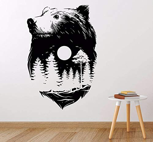 guijiumai Forest Bear Wall StickerDesign Nature Spirit Wall Art Mural Cultura India Estilo Decoración para el hogar Bear Forest Wall De75X113CM