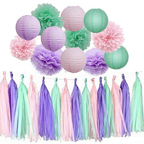 Mermaid Birthday Party Supplies/15pcs Lavender Pink Mint Green Tissue Pom Poms Tassel Garland Paper Lanterns for Birthday Party Decor Baby Shower Decoration