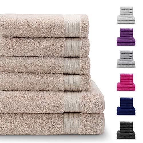 Twinzen Chemikalien-Frei Handtuch Set (6-Teilig) mit 4 Handtüchern und 2 Badetüchern, 100% Baumwolle - Hotel- und Wellnessqualität - Oeko TEX Std 100 Zertifizierung - Weich und Saugstark