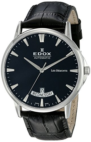 EDOX Reloj Analogico para Hombre de Automático con Correa en Cuero 83015-3-NIN