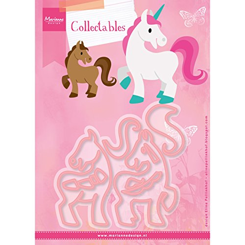 Marianne Design Collectables Troqueles Caballo y Unicornio, Metal, Rosa, 21x15x3 cm