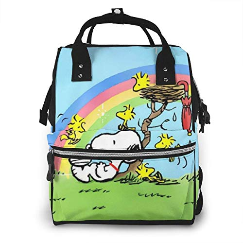 Diaper Bag Backpack - Snoopy Rainbow Multifunction Waterproof Travel Backpack Maternity Nappy Changing Bags