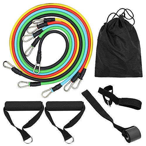 Montloxs 11pcs Resistance Bands Set Workout Fitness Exercise Tube Bands Door Anchor Ankle Straps Cushioned Handles with Carry Bags for Home Gym Travel
