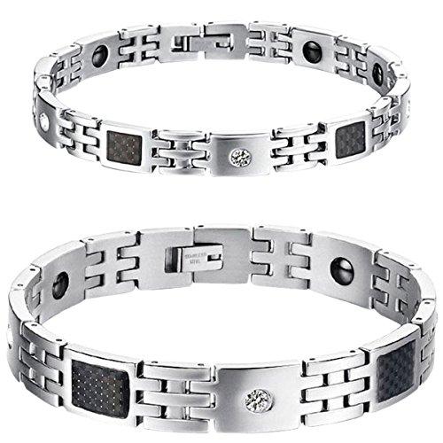 OIDEA 1 Paar (2PCS) Herren Damen Partner Ambänder, Edelstahl Zirkonia mit Schwarze Kohlefaser Magnet Freundschaftsarmband Armkette Armreif, Silber
