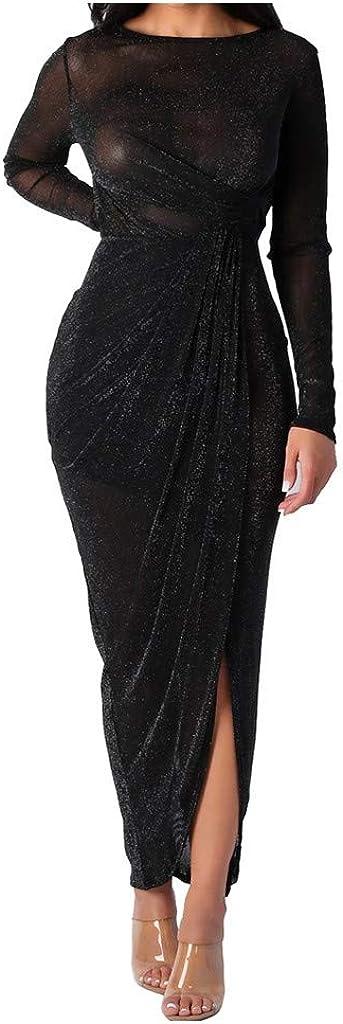 Mikey Store Sexy Women Fashion Lady Elegant Autumn Nightclub Full Dress Long Sleeve Dress