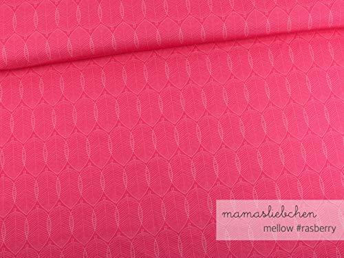 Mamasliebchen Jersey-Stoff Mellow #Raspberry (0,5m) Blatt Blätter Meterware