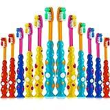 12 Pezzi Spazzolino da Denti per Bambini Spazzolino Manuale per Bambini Spazzolino da Denti per Bambini a Setole Morbide con Ventosa per Bambini dai 3 ai 10 Anni