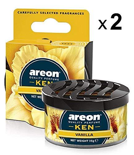 Areon Ken Ambientador Hogar Vainilla Coche Casa Aire Olor Dulce Lata Debajo Asiento Perfume Original Amarillo 3D ( Vanilla Pack de 2 )
