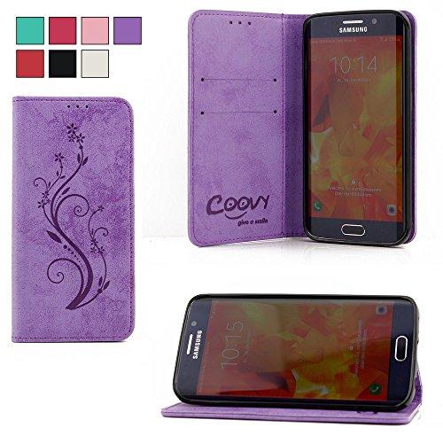 COOVY® Funda para Samsung Galaxy S7 Edge SM-G935F SM-G935 Billetera, Ranuras para Tarjetas, Cierre magnético, Soporte, Protectora de Pantalla | Flower | Color Morado