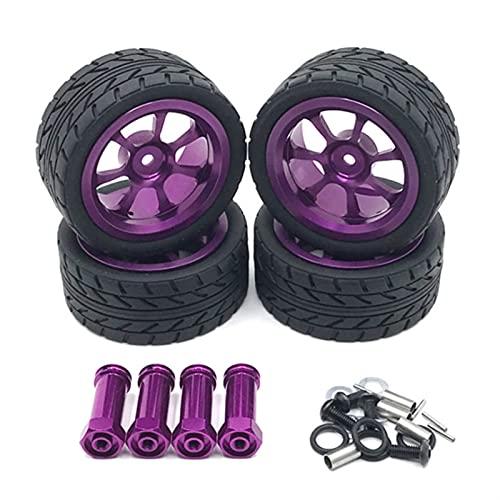 SXSM Neumáticos De Llanta De Rueda De Metal De 65 Mm con Adaptador Alargado De 12 Mm para Wltoys 144001 A959 A959-B 124019 124018 Piezas De Coche RC Accesorios de Coche RC ( Color : Púrpura )