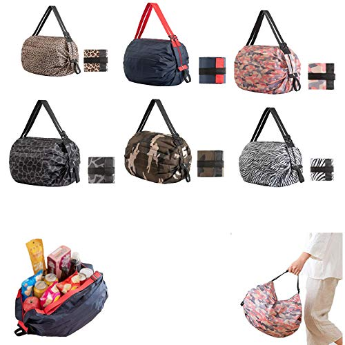 2021 NewFoldable Shopping Bag with Zipper Closure- Travel One-shoulder Portable, Reusable Grocery Bags, Washable Small Shopping Bag. (Camouflage)