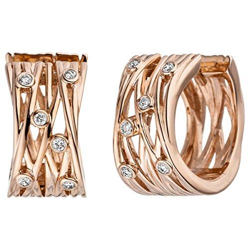 JOBO Creolen breit 585 Gold Rotgold 12 Diamanten Brillanten Ohrringe Rotgoldcreolen