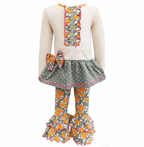 AnnLoren Baby Girls' Boutique Fall Floral & Polka Dot Ruffle Pants Outfit 2-3T 2T 3T Grey Pink