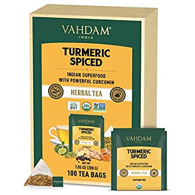 VAHDAM, ORGANIC Turmeric Spiced Herbal Tea (100 Tea Bags)   USDA Certified Organic   Turmeric Powder & Fresh Spices   Turmeric Tea   Natural Detox Tea by Vahdam