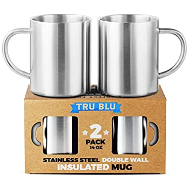 Coffee Mug – 14oz Insulated Set of 2, Shatterproof, Healthy & BPA Free Stainless Steel, Dishwasher Safe