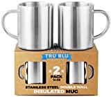 Coffee Mug 14oz Insulated Set of 2, Shatterproof,...