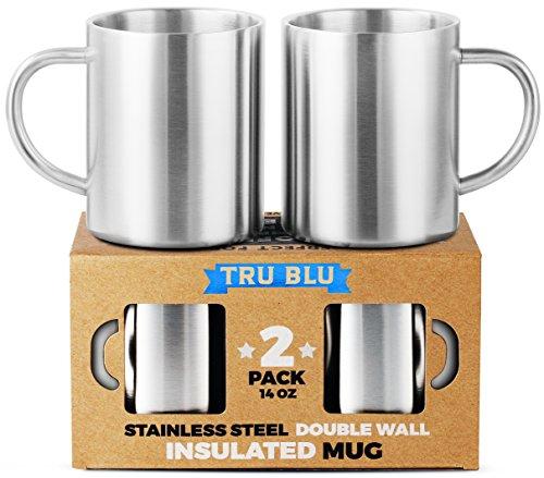 Kaffeetasse – 400 ml, Isoliertes 2er Set, Bruchsicherer, Gesunder & BPA-Freier Edelstahl, Spülmaschinengeeignet