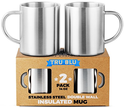 Coffee Mug 14oz Insulated Set of 2, Shatterproof, Healthy & Stainless Steel, Dishwashable