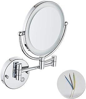 مرآة فانيتي لمستحضرات التجميل، إضاءة قابلة للتعديل، تركيب مخفي، على الوجهين، تستخدم في الحمامات والفنادق والمنتجعات الصحية...