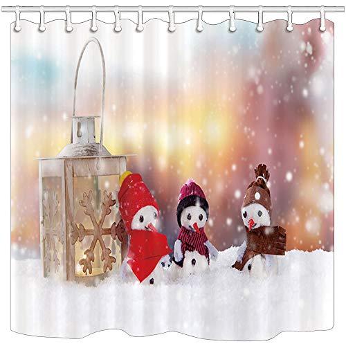 mintlmk Kerst douchegordijnen Mini Sneeuwman En Lantaarn In Sneeuw Polyester Stof Badkamer Gordijn Badkamer Douchegordijn Set met Haken 71X71in Badkamer Accessoires