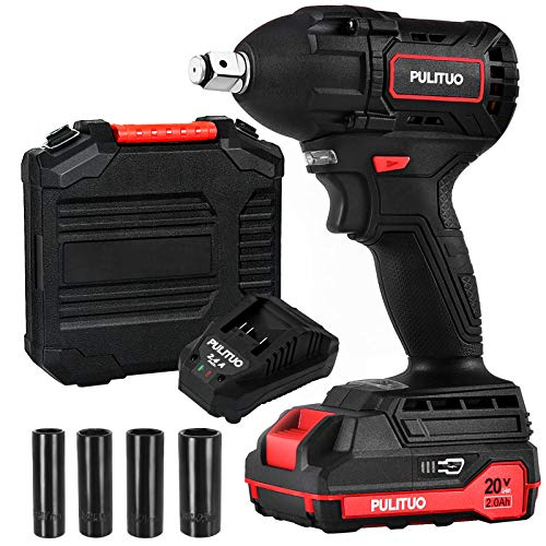 Cordless Impact Wrench PULITUO 20V Brushless Motor with 20Ah LiIon Battery and Charger 1/2 Inch Square Driver Max 300 Torque ftlbs 400Nm 4Pcs Driver Impact Sockets