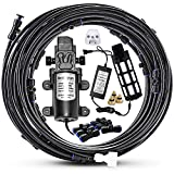 Mornajina Outdoor Misting Cooling System with Pump Kit, 49.2FT(15M) Misting Line with Filter, 20 Brass Mist Nozzles, 1 Brass Adapter (3/4'), 12V DC 60W 5L/Min, Self Priming Sprayer Water Pump
