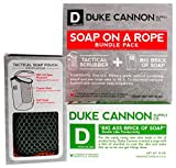 Duke Cannon Soap On A Rope Bundle Pack: Tactical Scrubber + Big A Brick of Soap for Men -'Smells Like Productivity'