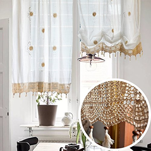 Victorian Vintage Boho Tie-up Roman Balloon Sheer Ruffle Curtain with Floral Embroidery and Lace Crochet Border (58x69H Inches, White)