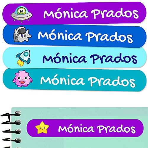 50 Etiquetas adhesivas para marcar objetos 6 x 1cm. Pegatinas para marcar libros y material escolar para guarderias y colegios (Galaxy)
