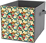 Caja de almacenamiento plegable | Cubo de almacenamiento cuadrado plegable, organizador duradero, cesta de libros y gatos