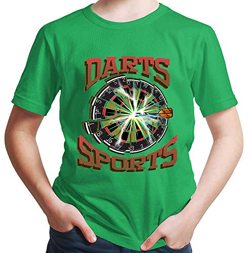HARIZ Jungen T-Shirt Darts Sports Blitz Scheibe Dart Darten Dartpfeile Sport Fun Trikot Inkl. Geschenk Karte Grün 152/12-13 Jahre