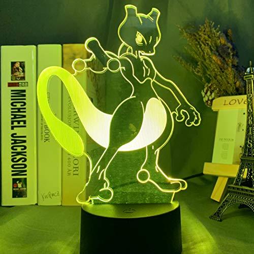 KangYD Juego Pokemon Go Mewtwo LED Luz de noche, lámpara de ilusión óptica 3D, G - Control de Telefonía Móvil, Regalo de decoración, Regalo de cumpleaños
