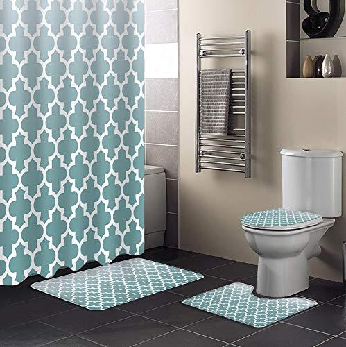 Minyose Cyan Grey Gradient Retro Marokko Duschvorhang Teppichabdeckung Toilettenbezug Badmatte Pad Set Bad Vorhang Home Decor 180 * 180Cm