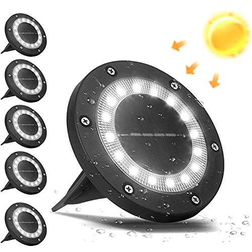 VANPEIN 6 Pezzi Luci Solari Esterno per Giardino, 16 LEDs Faretti Solari da Pavimento Segnapasso Esterno Lampade da Giardino da Terra Impermeabili IP65 per Scala, Prato, Vialetto - Bianco freddo