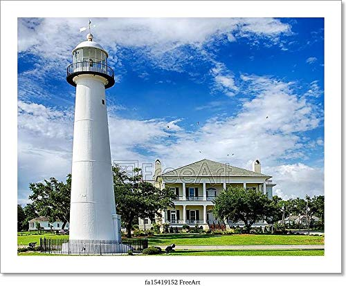 Barewalls Historic Lighthouse in Biloxi, Ms Paper Print Wall Art (8in. x 10in.)