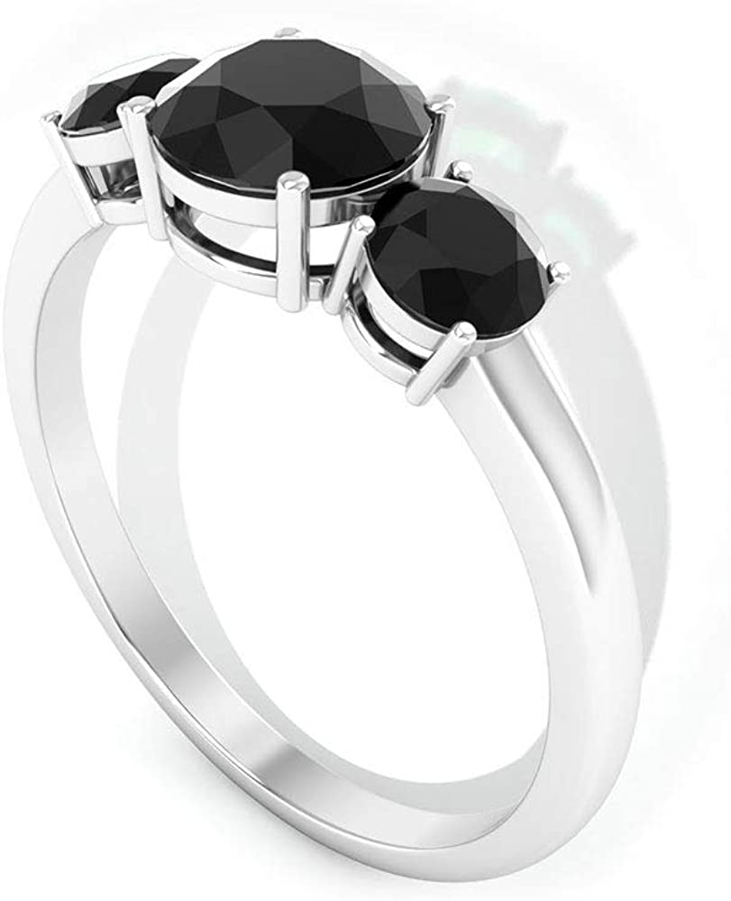 1.6Ct Antique Black Spinel Three Stone Ring, SGL Certified Gemstone Promise Ring, Unique Wedding Anniversary Gold Ring, Statement Women Partywear Ring, 14K Gold