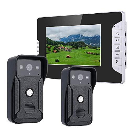 7 Zoll Video Türklingel, Türsprechanlage Intercom System Kit Farbe HD überwacht Nachtsicht mit 700TVL 2 Kamera