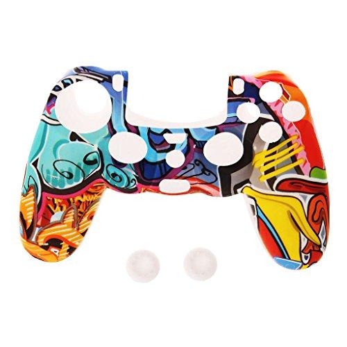 moregirl Funda de Silicona para Gamepad Estilo Multicolor + 2 Tapas de Joystick para Controlador PS4